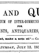 Notes and Queries, Vol. IV, Number 89, July 12, 1851