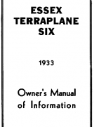 Essex Terraplane Six 1933 Owner's Manual of Information
