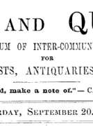 Notes and Queries, Vol. IV, Number 99, September 20, 1851