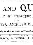 Notes and Queries, Vol. IV, Number 105, November 1, 1851
