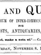 Notes and Queries, Vol. IV, Number 106, November 8, 1851