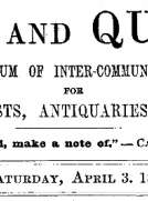 Notes and Queries, Vol. V, Number 127, April 3, 1852 A Medium of Inter-communication for Literary Men, Artists, Antiquaries, Genealogists, etc.
