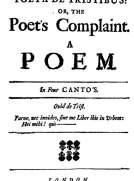 Poeta de Tristibus: Or, the Poet's Complaint