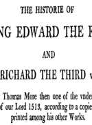 Chronicles of England, Scotland and Ireland (3 of 6): England (5 of 9) The History of Edward the Fift and King Richard the Third Unfinished