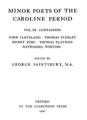 Minor Poets of the Caroline Period, Vol III