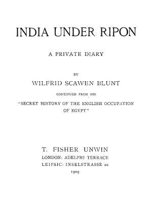 India Under Ripon A Private Diary