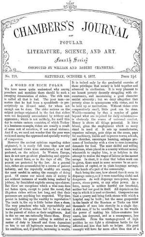 Chambers's Journal of Popular Literature, Science, and Art, No. 719 October 6, 1877